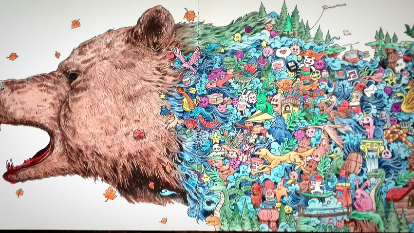 Multi Colored Animal Themes Mammal Coloringbook Bear Art