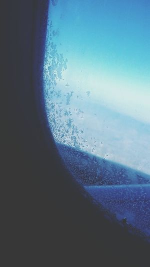 the frost on the airplane window