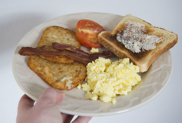 Eating Breakfast Bacon Eggs Toast Tomato Food Eat Healthy Meal Plate Hand Hash Browns Scrambled Eggs