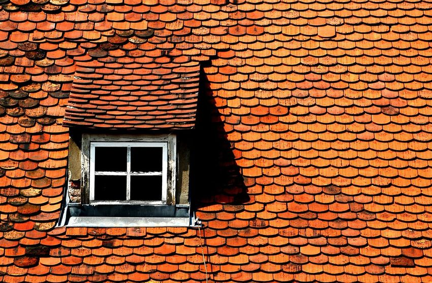 Graz Shingles Dormer Dormer Window Roof Roof Window Window Sun Orange Sunlight Built Structure Building Exterior Architecture No People Outdoors Textured  Day Light Beautifully Organized The Street Photographer - 2017 EyeEm Awards Be. Ready. Rethink Things