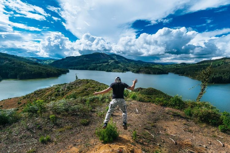 Be. Ready. Mountain Full Length Landscape Water Nature Cloud - Sky Hiking One Person Adults Only Lake Adult Adventure People Backpack Scenics Beauty In Nature Only Women Rock - Object Sky Vacations