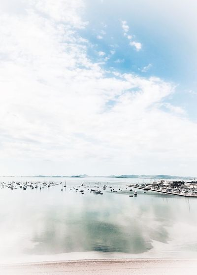 Boats Sky Cloud - Sky Water Beauty In Nature Day Scenics - Nature Nature Sea Tranquility Tranquil Scene Beach Land No People Horizon Over Water Horizon Non-urban Scene Idyllic Outdoors