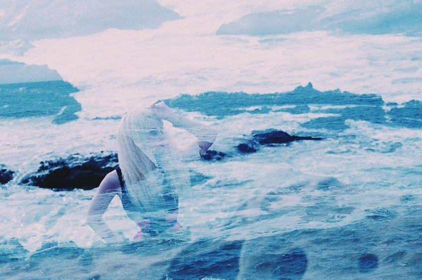 Buried beneath layers of foam. Colors Supernatural Woman Goddess 35mm Organsinsleep Laurenluck Double Exposure Mother Mothernature Film Sea Coast Conjure  Grain Pacific