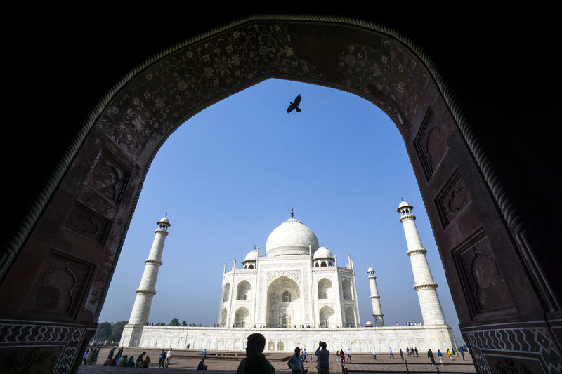 Low Angle View Of Taj Mahal Against Clear Blue Sky