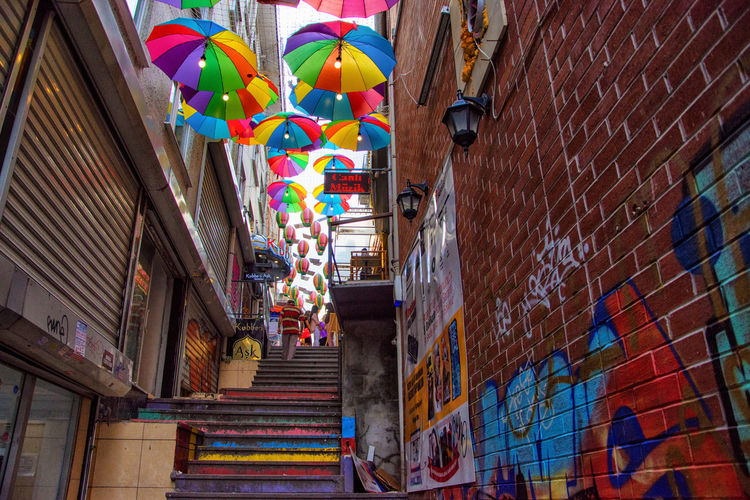 Architecture Balloon Building Exterior Built Structure Day Hanging Low Angle View Multi Colored No People Outdoors Street Photography Variation