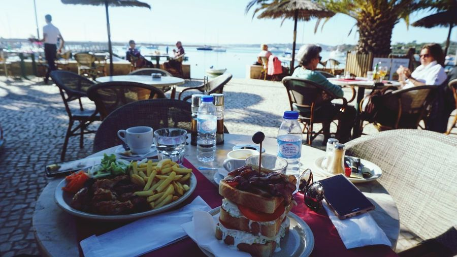 Favorite Color With Love With Him Sony Sonyalpha Sonya5100 Sonyforher Alvor Portugal Winter Love Beachcafe Table Food And Drink Incidental People Beach Food Adults Only Day Outdoors People Adult Women Men Sitting Plate Real People Sea Freshness Sky