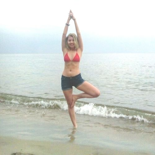 Yoga Tree Pose Sea And Sky Sea View Relaxing Rain Enjoying Life Summer After The Rain Nevergiveup