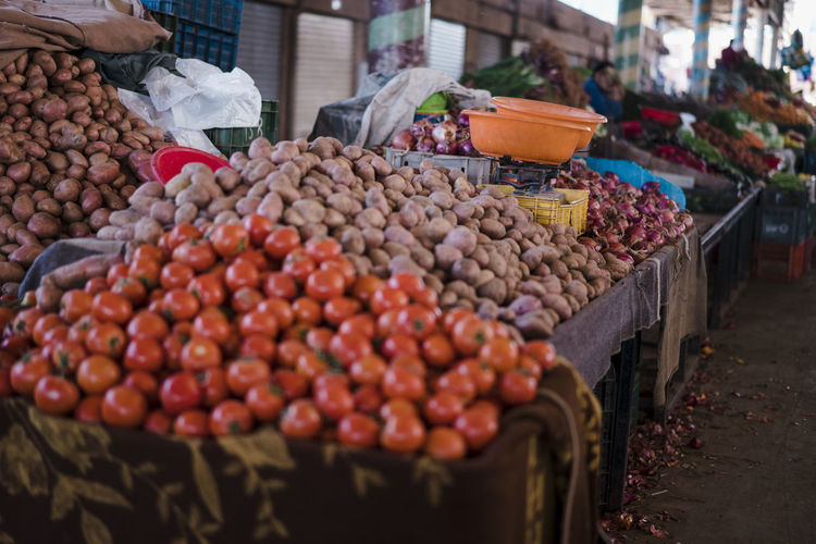 Marocco Landscape Africa North Africa Market Food Freshness Agadir Oranges Peppers Madarines Bananas Tomatoes Food And Drink Healthy Eating Fruit Retail  Market Stall Large Group Of Objects Abundance Choice Wellbeing Business For Sale Vegetable Incidental People Small Business Variation Day Container Outdoors Retail Display Sale Street Market Ripe Morocco Morocco Landscape