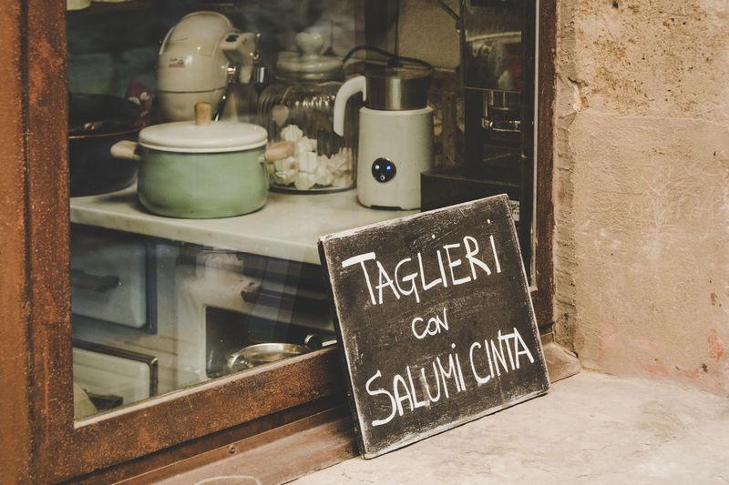 Cinta Senese Siena, Italy Blackboard  Cartel Chopping Board Cinta Cintasenese Delicatessen Food Salumi Umbria Window