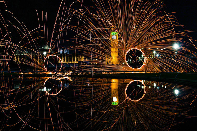 Heart of London. Architecture Big Ben Blurred Motion City England Illuminated Light Trail London Long Exposure Motion Night No People Outdoors Photography Reflection Wire Wool First Eyeem Photo