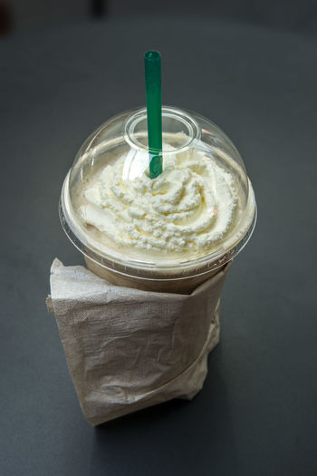 Close Up Of Frappe Coffee In Plastic Cup