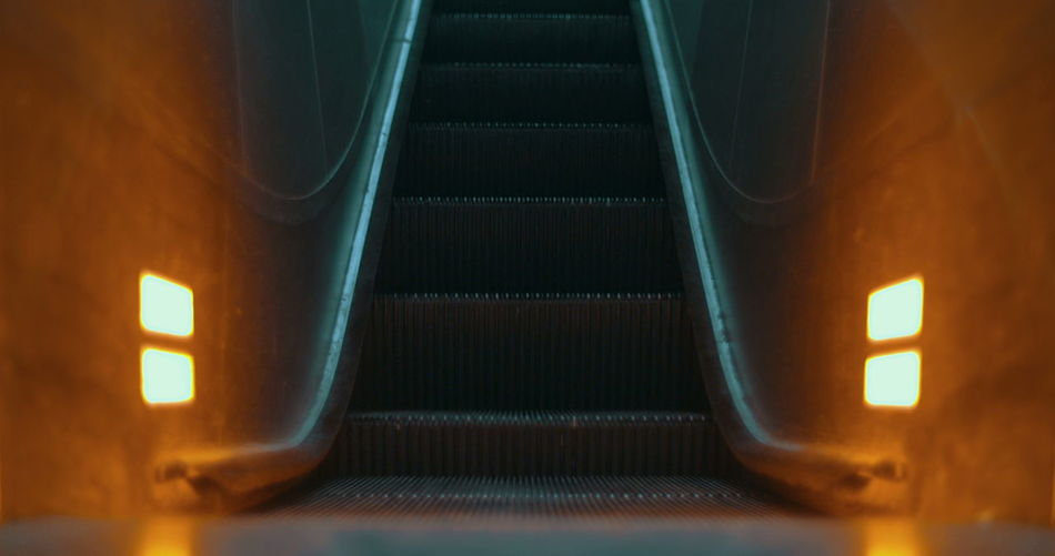 Close-up of escalator