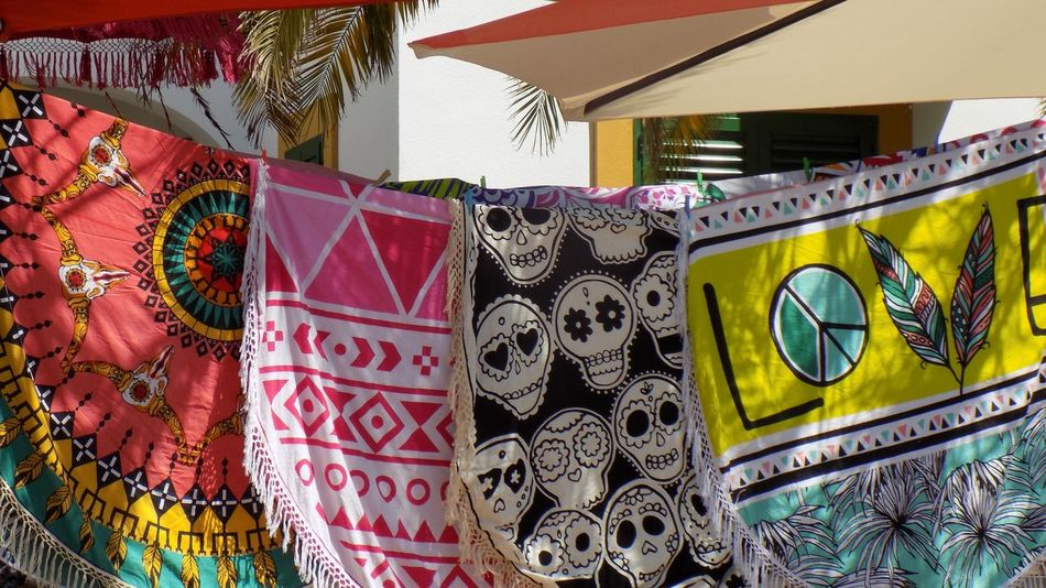 Multi Colored Pattern Close-up Day No People Marketplace Summer Time ☀ Bedspreads Towels In The Wind Decorations Scenics Ibiza, Spain