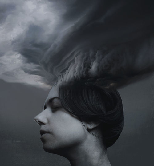 Digital composite image of young woman with clouds
