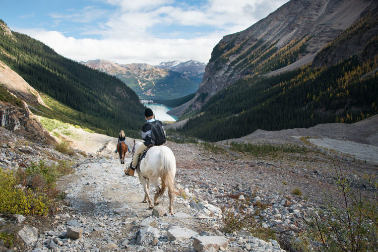 Rear view of horse riding horses on mountain