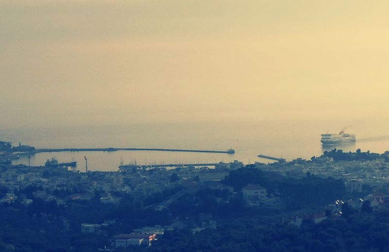 New day.... Water Sea High Angle View Harbor Horizon Over Water Mytileneisland