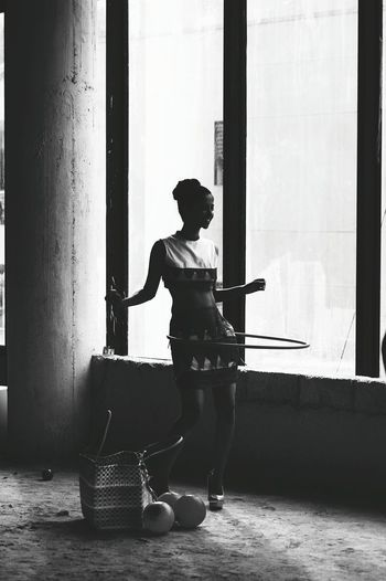 EyeEm Best Shots - Black + White Silhouette High Contrast B&W Portrait Hoola Hoop Shades Of Grey Photography In Motion