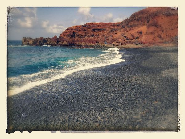 Lanzorote Black Sand Beach Sea No People Outdoors Water Sky Day