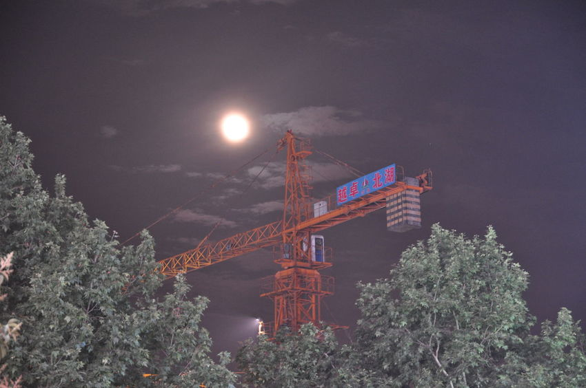 Full moon and cranes? How romantic! China China In My Eyes China Photos Construction Machinery Construction Site Crainspotting. Crane Crane - Construction Machinery Cranes First Eyeem Photo Moon Moon Moon Light Moonlight Moonshine Mysterious Night Night Lights Night Photography Nightphotography No People Outdoors Tree 中国 月亮