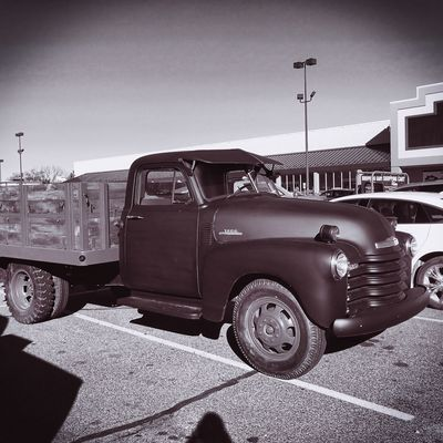 Old truck sitting in the parking lot at Lowes. Oldtrucks Blackandwhite Lowes Adrian Michigan Surreal