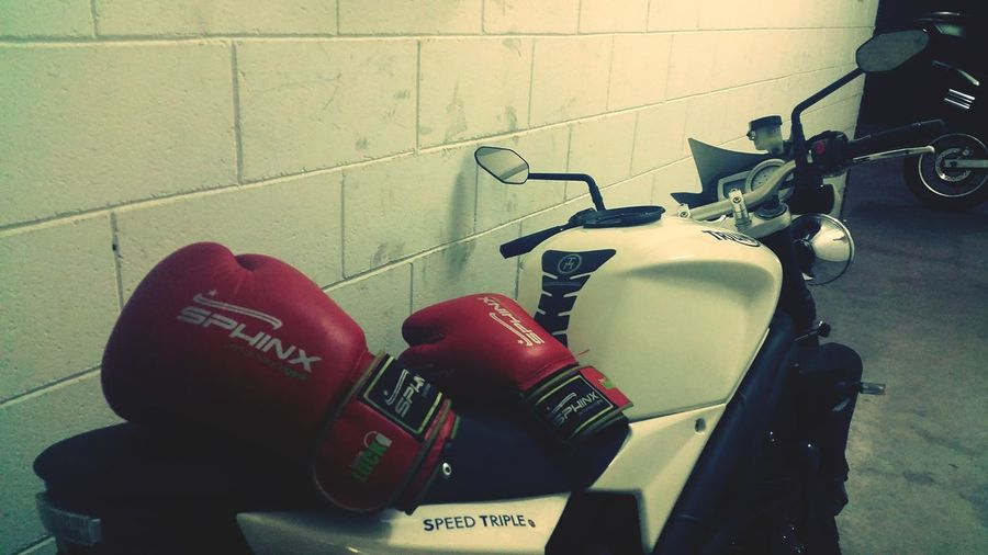 Indoors  No People Red Motorcycle Motorbike Bike Triumph Speed Triple Triumph Speed Triple 1050 Speed Triple Speed Triple 1050 Gloves Boxe Gloves