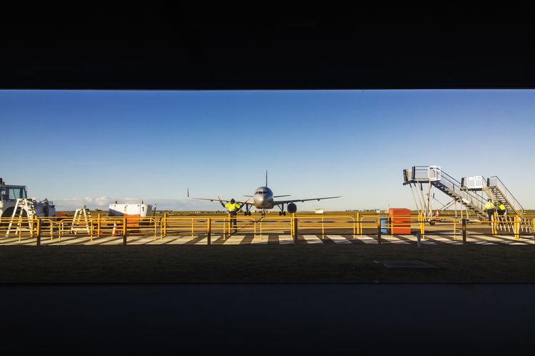August Australia Fly Holidays Ladder Life Man At Work People, Tourist Trip Work Airplane Airport Arrival Blue Landing Plane Maneuvers Pilot Pilotlife Plane, Sky, Sun Tourism Transportation Yellow