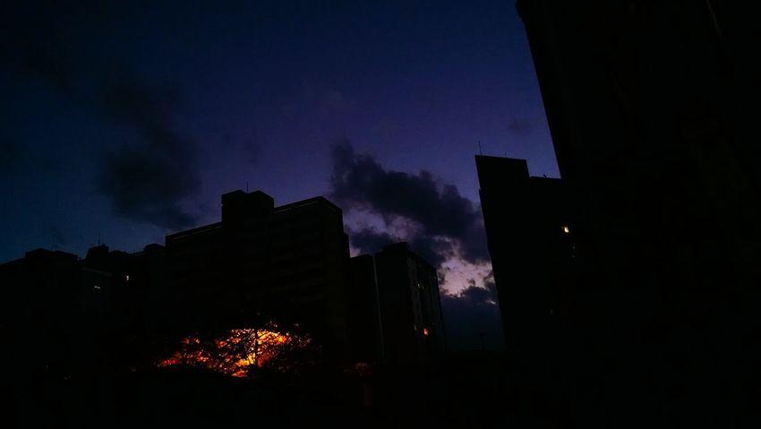 Purple night sky Night Sky City
