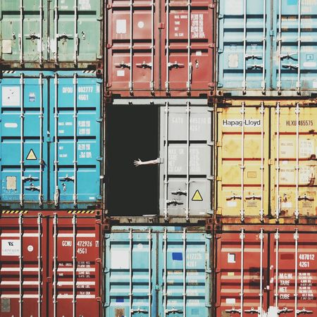 Container Harbour Shipping Docks Hamburg Colourful Arm Hand Waving Hello Squares Harbor Docklands