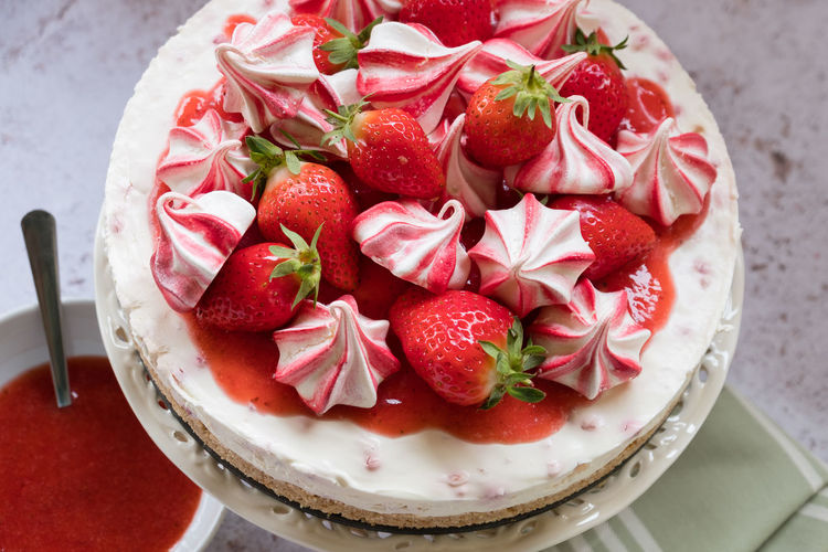 High angle view of strawberries in plate on table