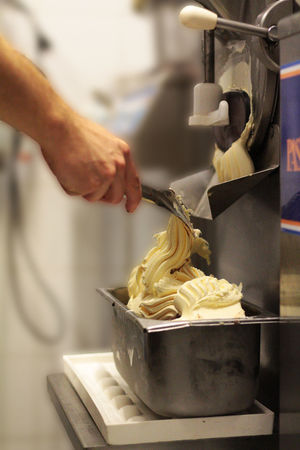 Ice Close-up Commercial Kitchen Day Food Food And Drink Food And Drink Establishment Food And Drink Industry Freshness Human Body Part Human Hand Ice Cream Indoors  Italian Food Making Men Midsection Motion Occupation One Person Preparation  Preparing Food Real People Skill  Working