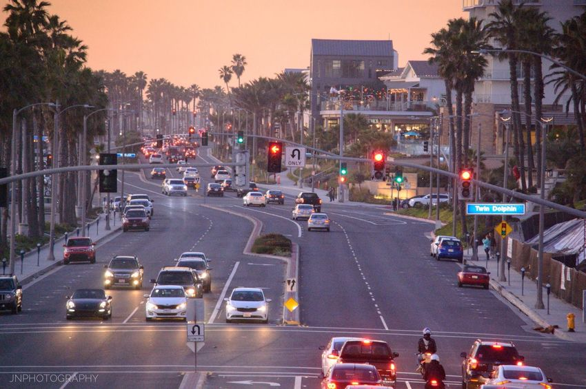 Tgif Transportation City Car Traffic High Angle View City Life Building Exterior Architecture Tree Land Vehicle Road Outdoors Illuminated No People Night Huntington Beach Southern California California Coast Beach Photography Beach Life Jnphotography