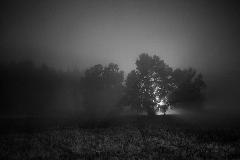 Foggy night on July 4th in Rhinebeck, NY