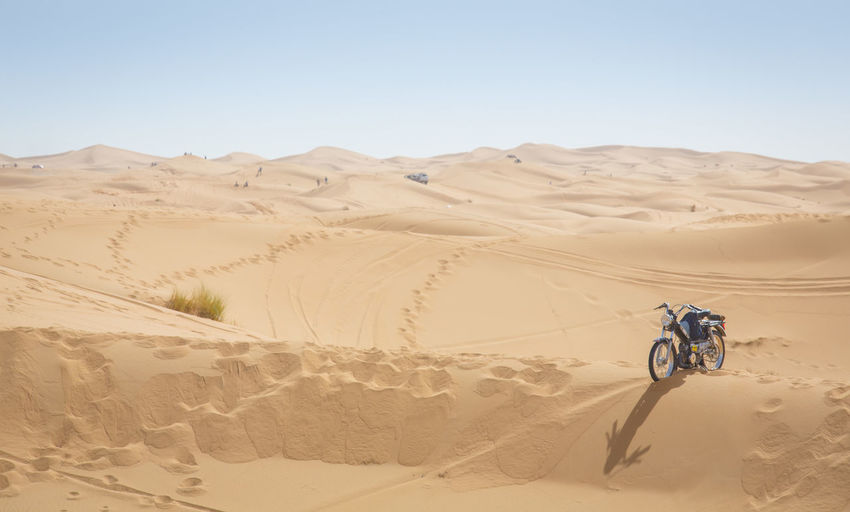 Bike Desert Desert Landscape Maroc Non-urban Scene People And Places Remote Transportation Offroad My Year My View Traveling Finding New Frontiers Lost In The Landscape Lost In The Landscape
