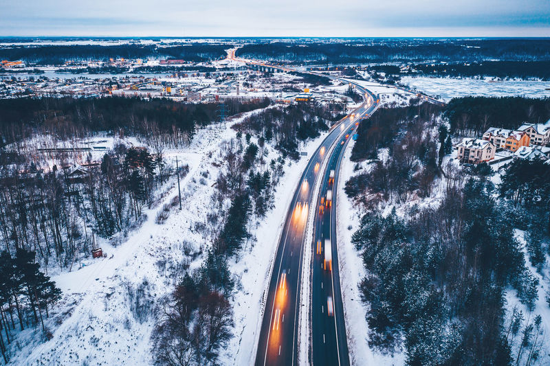 Highway Drone  Aerial View Aerial Mavic 2 Mavic 2 Pro DJI X Eyeem Aerial Photography Road Winter Snow Snowing Highway Traffic Europe Transportation Nature City Motion High Angle View No People Cold Temperature Illuminated Sky Long Exposure Street Speed Architecture Outdoors Mode Of Transportation Cityscape