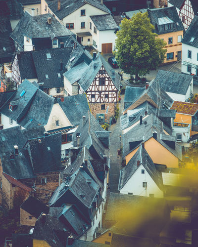 areal view to an ancient half-timbered house in Bremm, Rheinland-Pfalz, Germany, May 2019 Germany Mosel Bremm Bremm An Der Mosel Building Exterior Built Structure Architecture Building City Residential District High Angle View No People Roof Outdoors Town Day House Travel Destinations Nature Community Tree City Life TOWNSCAPE Apartment