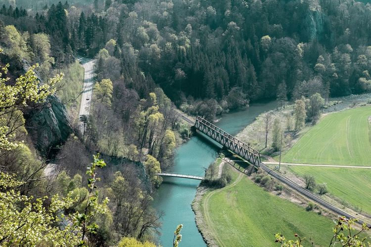 High angle view of bridge over river by trees