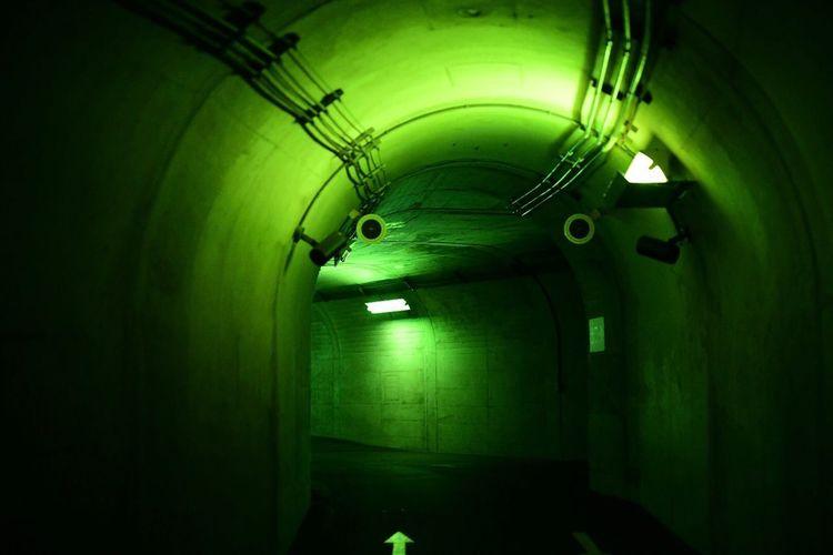 ダンジョン。緑のダンジョン。 Lighting Equipment Indoors  Illuminated Ceiling Architecture Tunnel No People Arch Built Structure Light Wall - Building Feature Green Color Electric Light Direction Electricity  The Way Forward Transportation Glowing