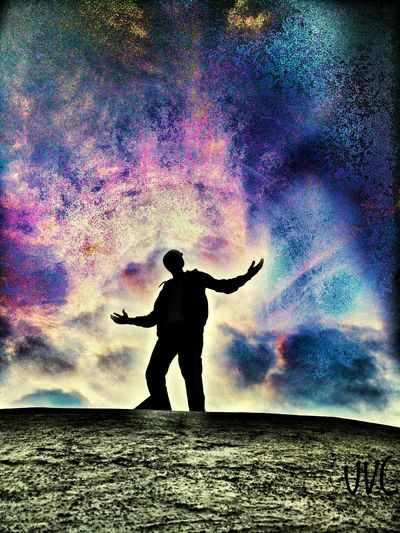 Sky Outdoors Arms Raised Full Length One Person Day Nature Painted Image