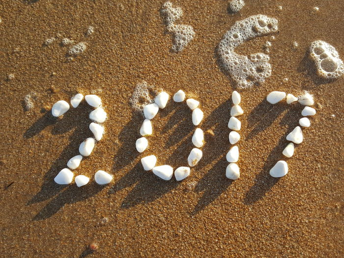 Words With Pebbles Pebbles Pattern Pebbles And Sand Pebbles On A Beach Pebbles Words With Stones 2017 Writing Sand Lifestyles New Year 2017 With Pebbles Beach