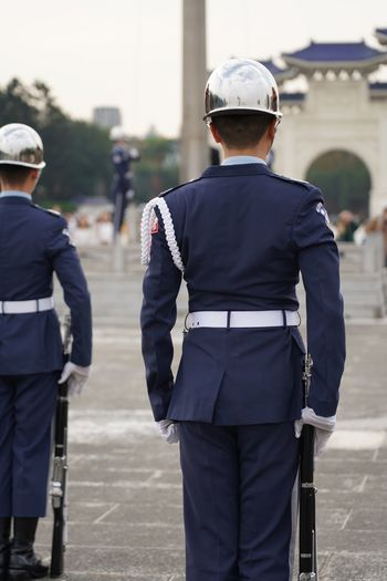 Salute Ceremony Police Bayonet Rifle Salute Flag Soldier Army Military Taiwan Taipei Rear View Uniform Men Government Security People Helmet Police Uniform