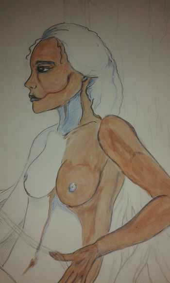 Drawing Painting Blue Blackeyes Woman Bilal Style Enki Bilal