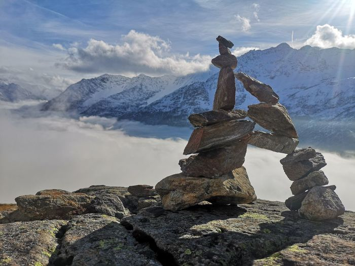 skulptur Sewenhütte Mountains Nature Photography HuaweiP20photo Huaweip20pro Leica Lens Huaweiphotography Huawei P20 Pro Photography Skulpture Blue Stone Men Mountain Snow Water Sky Cloud - Sky Hiker Sculpture Statue Rock Formation Rocky Mountains
