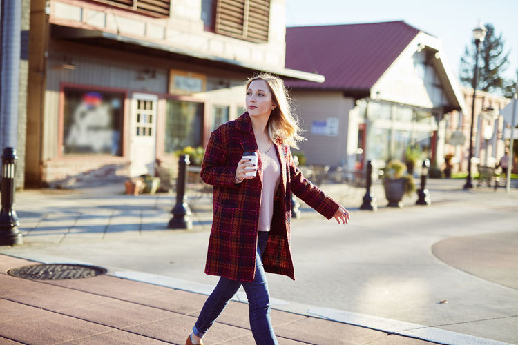 Adult Architecture Beautiful Woman Beauty Blond Hair Building Exterior Built Structure Day Fashion Focus On Foreground Front View Full Length Lifestyles One Person Outdoors People Portrait Real People Young Adult Young Women