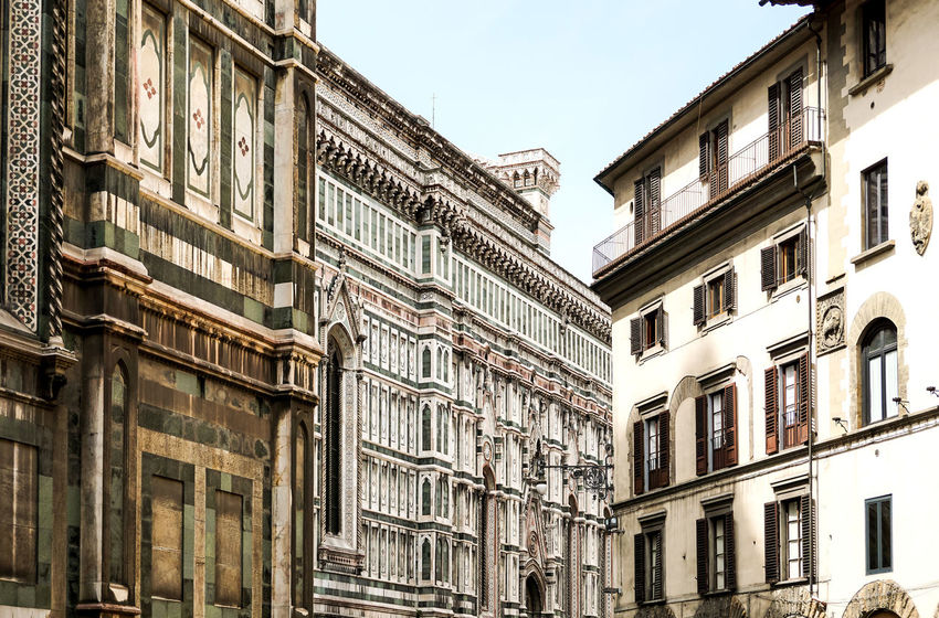 Apartment Architectural Feature Architecture Building Exterior Building Story Built Structure Cathedral Santa Maria Del Fiore City City Life Clear Sky Day Low Angle View No People Office Building Outdoors Repetition Residential District Sky Skyscraper Tall Tall - High Window
