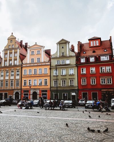 The streets of Wroclaw. Wroclaw, Poland Poland 💗 Building Exterior Built Structure Architecture Building Sky Window Nature City Day No People Residential District Outdoors Clear Sky Snow Sunlight Cold Temperature Low Angle View Row House