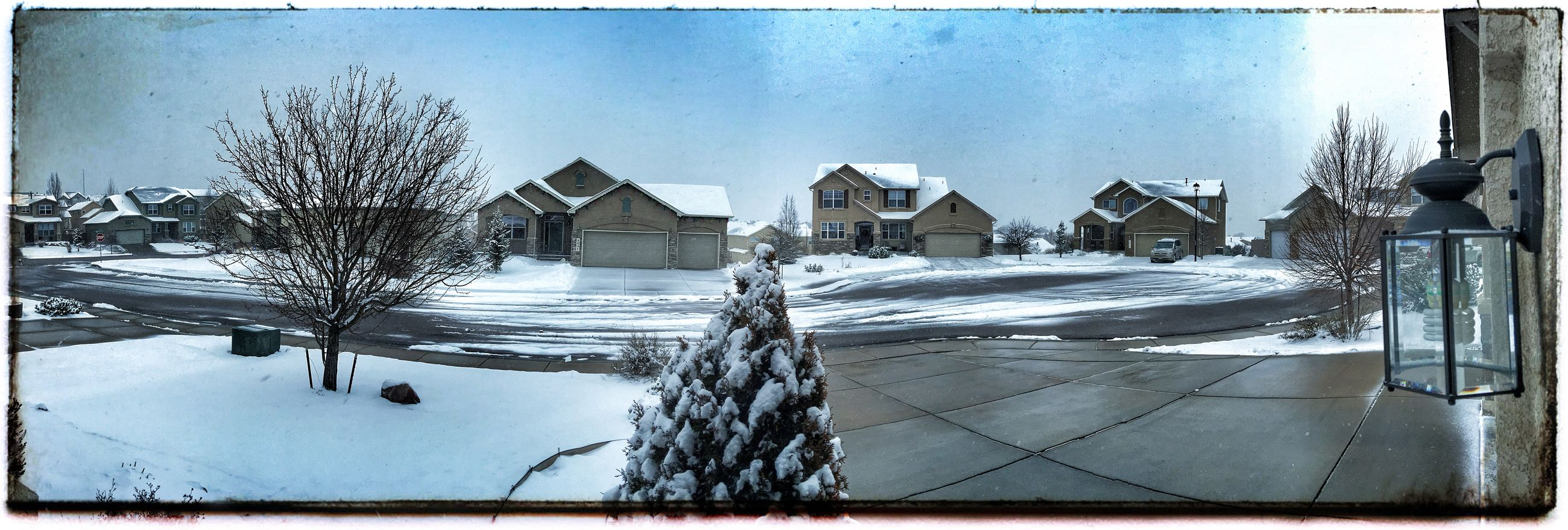 transfer print, building exterior, architecture, auto post production filter, built structure, snow, winter, cold temperature, city, sky, season, water, day, bare tree, residential building, building, residential structure, house, street, outdoors