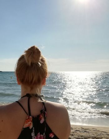 Sea Rear View One Woman Only Hair Up Womanity  Woman Summer Summerdreaming Vacations Been There