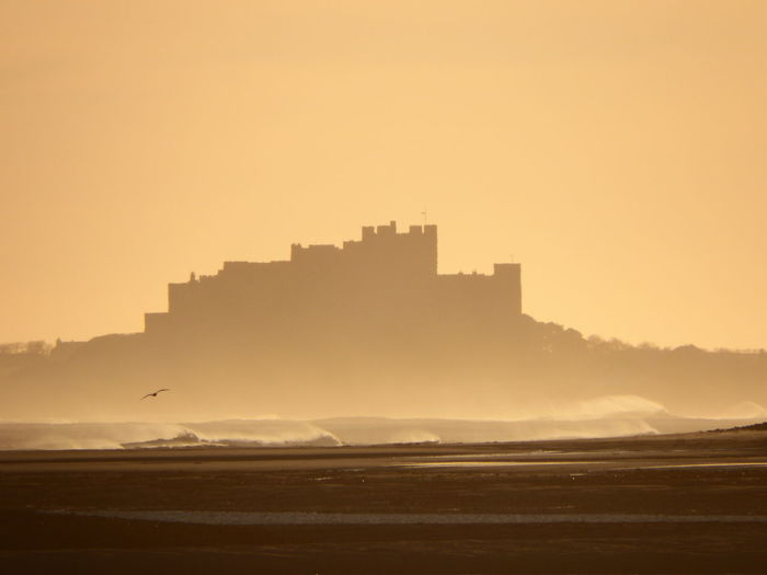 The Seat of Northumbrian Kings Beach Beauty In Nature Bird Castle Nature Orange Color Sea Silhouette Sunrise Sunrise_sunsets_aroundworld Sunrise_Collection Lindisfarne Holy Island St Cuthberts Tranquility Waves First Eyeem Photo Landscapes With WhiteWall