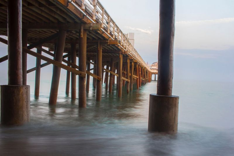 Under the pier @ Malibu Farms WestCoast Nature Scenics Outdoors Beach California Love Cali Wave Malibu Beach Sea Malibu Malibu Pier Water California Dreaming California Travel Beachphotography Beauty In Nature