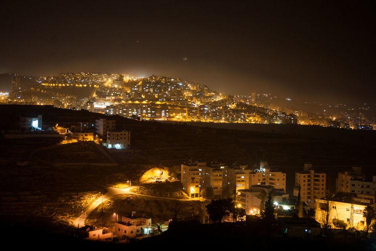 High Angle Shot Of Illuminated Townscape